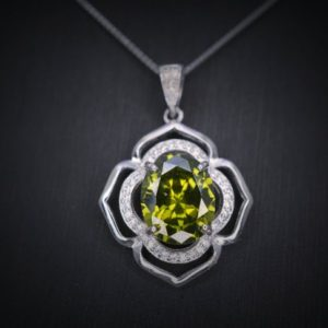 Shop Peridot Pendants! Sterling Silver Large Peridot Life Of Flower Necklace – Oval Cut 4.1 Ct Green Peridot Flower Pendant | Natural genuine Peridot pendants. Buy crystal jewelry, handmade handcrafted artisan jewelry for women.  Unique handmade gift ideas. #jewelry #beadedpendants #beadedjewelry #gift #shopping #handmadejewelry #fashion #style #product #pendants #affiliate #ad