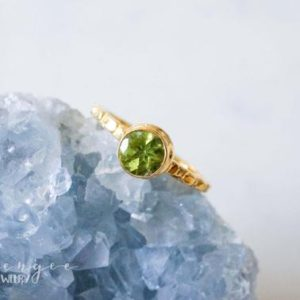 Shop Peridot Rings! 6mm green peridot gold ring. lime green gold vermeil ring. light green gem ring. gemstone ring. gold vermeil | Natural genuine Peridot rings, simple unique handcrafted gemstone rings. #rings #jewelry #shopping #gift #handmade #fashion #style #affiliate #ad