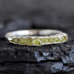 Wrapped Raw Peridot Band Ring. Peridot Ring. Raw Stone Ring. Green Stone Ring. Peridot Wedding Band Ring. Peridot Engagement Ring. | Natural genuine Gemstone rings, simple unique alternative gemstone engagement rings. #rings #jewelry #bridal #wedding #jewelryaccessories #engagementrings #weddingideas #affiliate #ad