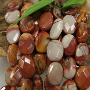 Shop Picture Jasper Faceted Beads! Natural Red Picture Jasper Assorted Size Faceted Flat Oval Gemstone Beads -15.5 inch strand | Natural genuine faceted Picture Jasper beads for beading and jewelry making.  #jewelry #beads #beadedjewelry #diyjewelry #jewelrymaking #beadstore #beading #affiliate #ad