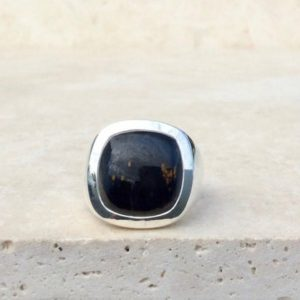 Shop Pietersite Rings! Pietersite Silver Ring, Mens Silver Ring with Stone, Large Gemstone Silver Jewellery, Fathers Day Gift Idea | Natural genuine Pietersite mens fashion rings, simple unique handcrafted gemstone men's rings, gifts for men. Anillos hombre. #rings #jewelry #crystaljewelry #gemstonejewelry #handmadejewelry #affiliate #ad