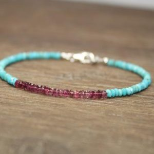 Pink Tourmaline & Sleeping Beauty Turquoise Bracelet, Sleeping Beauty Turquoise Jewelry, December and October Birthstone | Natural genuine Array bracelets. Buy crystal jewelry, handmade handcrafted artisan jewelry for women.  Unique handmade gift ideas. #jewelry #beadedbracelets #beadedjewelry #gift #shopping #handmadejewelry #fashion #style #product #bracelets #affiliate #ad