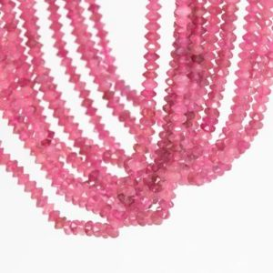 Shop Pink Tourmaline Faceted Beads! 190 Pcs – 3x2MM Pink Tourmaline Beads Grade AAA Genuine Natural Faceted Rondelle Gemstone Loose Beads (111789) | Natural genuine faceted Pink Tourmaline beads for beading and jewelry making.  #jewelry #beads #beadedjewelry #diyjewelry #jewelrymaking #beadstore #beading #affiliate #ad