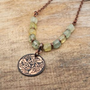 Shop Prehnite Necklaces! Copper Celtic dogs necklace with light green prehnite beads, etched metal hounds, 21 inches long   Natural genuine Prehnite necklaces. Buy crystal jewelry, handmade handcrafted artisan jewelry for women.  Unique handmade gift ideas. #jewelry #beadednecklaces #beadedjewelry #gift #shopping #handmadejewelry #fashion #style #product #necklaces #affiliate #ad