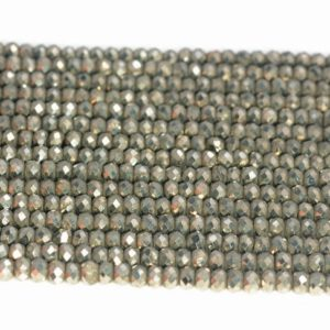 Shop Pyrite Beads! 3x2mm Iron Pyrite Gemstone Grade AAA Micro Faceted Rondelle Loose Beads 15.5 inch Full Strand (90187846-421) | Natural genuine beads Pyrite beads for beading and jewelry making.  #jewelry #beads #beadedjewelry #diyjewelry #jewelrymaking #beadstore #beading #affiliate #ad