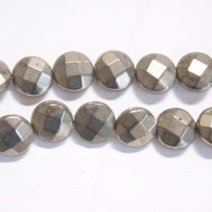 Shop Pyrite Faceted Beads! Pyrite 8x3mm 10x5mm Faceted Coin Shaped Gemstone Beads–15.5 inch | Natural genuine faceted Pyrite beads for beading and jewelry making.  #jewelry #beads #beadedjewelry #diyjewelry #jewelrymaking #beadstore #beading #affiliate #ad