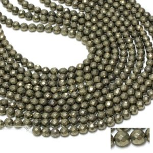 """Shop Pyrite Faceted Beads! GU-6092-3 – A Grade Pyrite Faceted Rounds – 64 Facetes – 8mm – Gemstone Beads – 16"""" Full Strand 