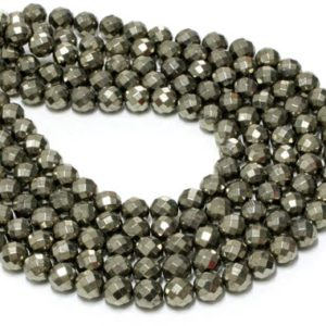 """Shop Pyrite Faceted Beads! GU-6092-4 – A Grade Pyrite Faceted Rounds – 64 Facetes – 10mm – Gemstone Beads – 16"""" Full Strand 
