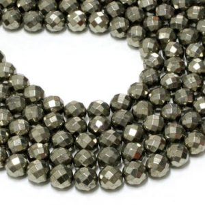 """Shop Pyrite Faceted Beads! Gu-6092-5 – A Grade Pyrite Faceted Rounds – 64 Facetes – 12mm – Gemstone Beads – 16"""" Full Strand 