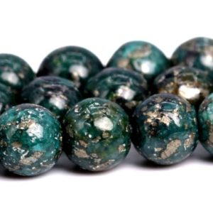 "Shop Pyrite Beads! 4MM Dark Green Pyrite Beads Grade AAA Natural Gemstone  Round Loose Beads 15.5"" / 7.5"" Bulk Lot Options(102296) 