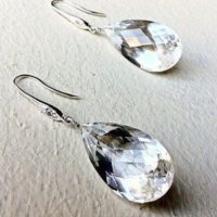 Luxury Clear Quartz Pave Silver Dangle Earrings, Teardrops, Elegant Jewelry. | Natural genuine Gemstone jewelry. Buy crystal jewelry, handmade handcrafted artisan jewelry for women.  Unique handmade gift ideas. #jewelry #beadedjewelry #beadedjewelry #gift #shopping #handmadejewelry #fashion #style #product #jewelry #affiliate #ad