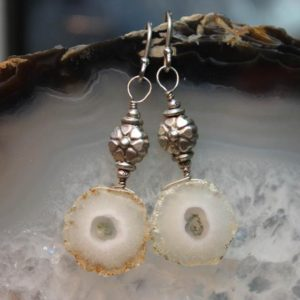 Shop Quartz Crystal Earrings! Solar Quartz Silver Flower Dangle Earrings | Natural genuine Quartz earrings. Buy crystal jewelry, handmade handcrafted artisan jewelry for women.  Unique handmade gift ideas. #jewelry #beadedearrings #beadedjewelry #gift #shopping #handmadejewelry #fashion #style #product #earrings #affiliate #ad