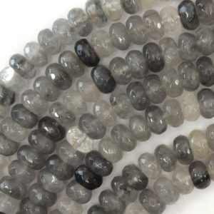"""Shop Quartz Crystal Faceted Beads! Natural Faceted Gray Quartz Rondelle Beads 15"""" Strand 4x6mm 5x8mm 6x10mm   Natural genuine faceted Quartz beads for beading and jewelry making.  #jewelry #beads #beadedjewelry #diyjewelry #jewelrymaking #beadstore #beading #affiliate #ad"""