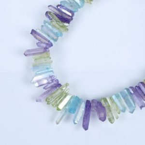 Shop Quartz Crystal Bead Shapes! Natural Crystal Quartz Point Beads.Mix Color Crystal Quartz Point.Bright Crystal Beads.Good Quality Crystal Point Beads.Top Drilled Beads. | Natural genuine other-shape Quartz beads for beading and jewelry making.  #jewelry #beads #beadedjewelry #diyjewelry #jewelrymaking #beadstore #beading #affiliate #ad