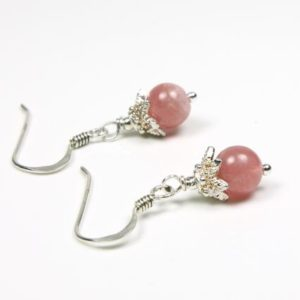 Shop Rhodochrosite Earrings! Rhodochrosite Sterling Silver Earrings natural raspberry-pink gemstone classic dainty dangle drops birthday mother's day gift for her 5713 | Natural genuine Rhodochrosite earrings. Buy crystal jewelry, handmade handcrafted artisan jewelry for women.  Unique handmade gift ideas. #jewelry #beadedearrings #beadedjewelry #gift #shopping #handmadejewelry #fashion #style #product #earrings #affiliate #ad