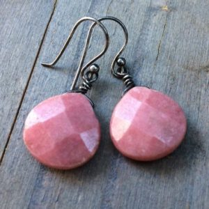 Shop Rhodonite Earrings! Sterling silver  Pink Rhodonite dangle earrings.  Natural Rhodonite drops.  Opaque gemstone.  Rhodonite jewelry set | Natural genuine Rhodonite earrings. Buy crystal jewelry, handmade handcrafted artisan jewelry for women.  Unique handmade gift ideas. #jewelry #beadedearrings #beadedjewelry #gift #shopping #handmadejewelry #fashion #style #product #earrings #affiliate #ad