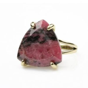 Shop Rhodonite Rings! Beautiful Trillion Ring, rhodonite Ring, gemstone Ring, statement Ring, gold Ring For Women, semiprecious Ring, pink Stone Ring, gold Filled Ring | Natural genuine Rhodonite rings, simple unique handcrafted gemstone rings. #rings #jewelry #shopping #gift #handmade #fashion #style #affiliate #ad