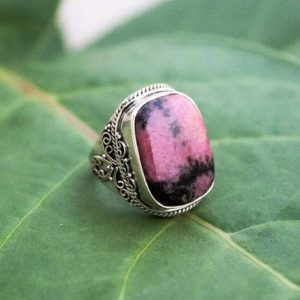 Rhodonite Ring, Sterling Silver Natural Rohodnite Stone Ring, Pale Pink Stone Ring, Rhodonite Jewelry, Boho Ring, Statement Ring | Natural genuine Gemstone rings, simple unique handcrafted gemstone rings. #rings #jewelry #shopping #gift #handmade #fashion #style #affiliate #ad