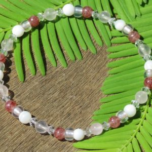 Shop Rose Quartz Bracelets! Girl's Rose Quartz, Mother Of Pearl and Muscovite Healing Stone Bracelet or Anklet! | Natural genuine Rose Quartz bracelets. Buy crystal jewelry, handmade handcrafted artisan jewelry for women.  Unique handmade gift ideas. #jewelry #beadedbracelets #beadedjewelry #gift #shopping #handmadejewelry #fashion #style #product #bracelets #affiliate #ad