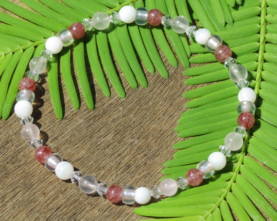 Girl's Rose Quartz, Mother Of Pearl And Muscovite Healing Stone Bracelet Or Anklet!