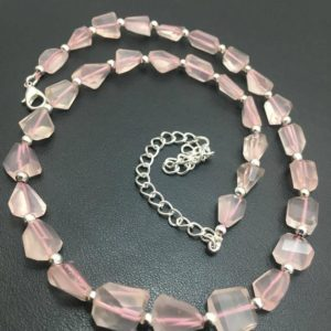 Shop Rose Quartz Necklaces! Rose Quartz Faceted Tumble 9x12mm to 10x14mm 16 Inches Semiprecious stone Beads Beaded Necklace/Rose Quartz/Pink Beads/Faceted Beads | Natural genuine Rose Quartz necklaces. Buy crystal jewelry, handmade handcrafted artisan jewelry for women.  Unique handmade gift ideas. #jewelry #beadednecklaces #beadedjewelry #gift #shopping #handmadejewelry #fashion #style #product #necklaces #affiliate #ad