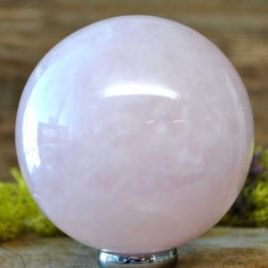 Shop Rose Quartz Shapes! Rose Quartz Crystal Sphere Ball –  1062.18 | Natural genuine stones & crystals in various shapes & sizes. Buy raw cut, tumbled, or polished gemstones for making jewelry or crystal healing energy vibration raising reiki stones. #crystals #gemstones #crystalhealing #crystalsandgemstones #energyhealing #affiliate #ad