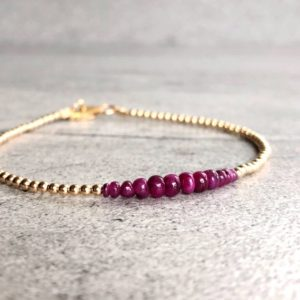 Shop Ruby Bracelets! Gold Ruby Bracelet | Genuine Ruby Jewelry | Tiny Bead Bracelet With Precious Stones | Custom 5 6 7 8 9 Inch Size | Natural genuine Ruby bracelets. Buy crystal jewelry, handmade handcrafted artisan jewelry for women.  Unique handmade gift ideas. #jewelry #beadedbracelets #beadedjewelry #gift #shopping #handmadejewelry #fashion #style #product #bracelets #affiliate #ad