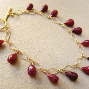 Shop Ruby Bracelets! Red Ruby Gold Fill Bracelet, opaque, burgundy gemstone jewelry. | Natural genuine Ruby bracelets. Buy crystal jewelry, handmade handcrafted artisan jewelry for women.  Unique handmade gift ideas. #jewelry #beadedbracelets #beadedjewelry #gift #shopping #handmadejewelry #fashion #style #product #bracelets #affiliate #ad