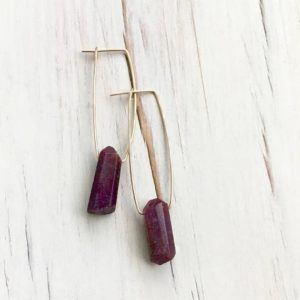 Shop Ruby Jewelry! Ruby Earrings Raw Ruby Natural Hoops Ruby Jewelry Ruby Hoops Gemstone Jewelry | Natural genuine Ruby jewelry. Buy crystal jewelry, handmade handcrafted artisan jewelry for women.  Unique handmade gift ideas. #jewelry #beadedjewelry #beadedjewelry #gift #shopping #handmadejewelry #fashion #style #product #jewelry #affiliate #ad