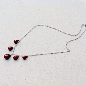 Shop Ruby Necklaces! Burgundy Red Indian Ruby Stone Necklace.  Dark red teardrop gemstones. Sterling silver jewelry. July birthstone . | Natural genuine Ruby necklaces. Buy crystal jewelry, handmade handcrafted artisan jewelry for women.  Unique handmade gift ideas. #jewelry #beadednecklaces #beadedjewelry #gift #shopping #handmadejewelry #fashion #style #product #necklaces #affiliate #ad