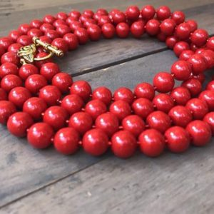 Shop Ruby Necklaces! Long red beaded necklace.  One if a kind.  Gift for Christmas.  Ruby jewelry.  Cranberry | Natural genuine Ruby necklaces. Buy crystal jewelry, handmade handcrafted artisan jewelry for women.  Unique handmade gift ideas. #jewelry #beadednecklaces #beadedjewelry #gift #shopping #handmadejewelry #fashion #style #product #necklaces #affiliate #ad