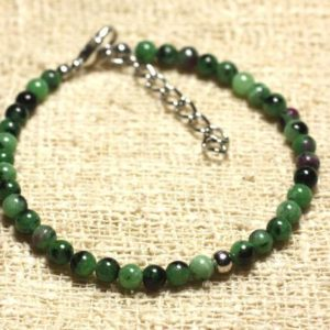 Shop Ruby Zoisite Bracelets! 925 sterling silver and Ruby Zoisite 4 mm semi precious stone bracelet | Natural genuine Ruby Zoisite bracelets. Buy crystal jewelry, handmade handcrafted artisan jewelry for women.  Unique handmade gift ideas. #jewelry #beadedbracelets #beadedjewelry #gift #shopping #handmadejewelry #fashion #style #product #bracelets #affiliate #ad