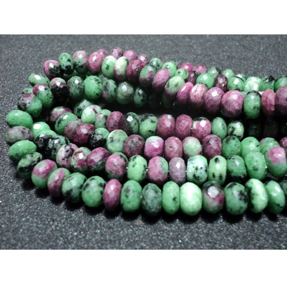 9mm Ruby Zoisite Faceted Rondelle Beads, Ruby Zoisite Beads, Red Green Gemstone Beads, Ruby Zoisite Faceted Beads For Jewelry (4in To 8in)