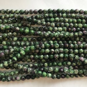 Shop Ruby Zoisite Faceted Beads! Ruby Zoisite Faceted Round 6mm Gemstone Bead -15 Inch Strand 1 Strand / 3 Strands | Natural genuine faceted Ruby Zoisite beads for beading and jewelry making.  #jewelry #beads #beadedjewelry #diyjewelry #jewelrymaking #beadstore #beading #affiliate #ad