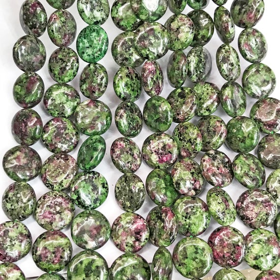 14mm Ruby Zoisite Coin Beads, Gemstone Beads, Wholesale Beads