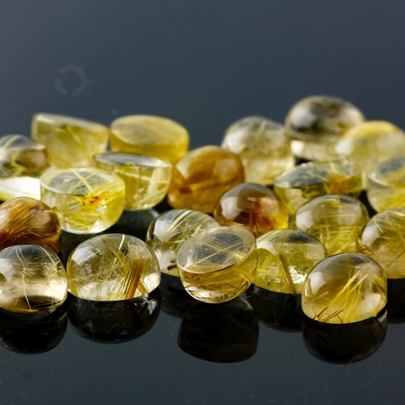 Golden Rutilated Quartz Cabochon 10x8mm Oval - Per Stone