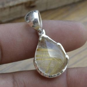 Shop Rutilated Quartz Pendants! Natural Yellow Rutilated Quartz Pendant,Yellow Hair Rutile,Solid 925 Sterling Silver Pendant,Handmade Jewelry- Christmas Gift,Rutile Pendant   Natural genuine Rutilated Quartz pendants. Buy crystal jewelry, handmade handcrafted artisan jewelry for women.  Unique handmade gift ideas. #jewelry #beadedpendants #beadedjewelry #gift #shopping #handmadejewelry #fashion #style #product #pendants #affiliate #ad