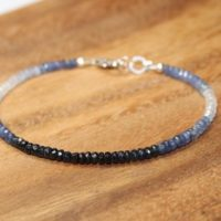 Blue Sapphire Ombre Bracelet, Sapphire Jewelry, September Birthstone, Something Blue, Gemstone Bracelet | Natural genuine Gemstone jewelry. Buy crystal jewelry, handmade handcrafted artisan jewelry for women.  Unique handmade gift ideas. #jewelry #beadedjewelry #beadedjewelry #gift #shopping #handmadejewelry #fashion #style #product #jewelry #affiliate #ad