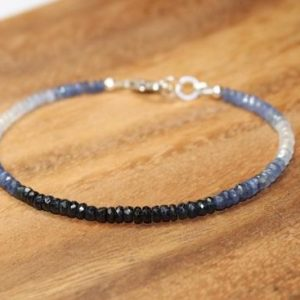 Shop Sapphire Jewelry! Blue Sapphire Ombre Bracelet, Sapphire Jewelry, September Birthstone, Something Blue, Gemstone Bracelet | Natural genuine Sapphire jewelry. Buy crystal jewelry, handmade handcrafted artisan jewelry for women.  Unique handmade gift ideas. #jewelry #beadedjewelry #beadedjewelry #gift #shopping #handmadejewelry #fashion #style #product #jewelry #affiliate #ad