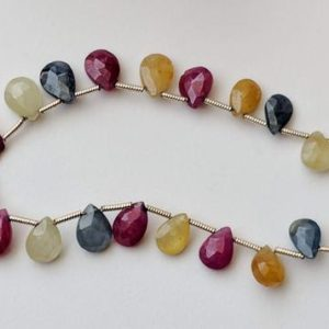 Shop Sapphire Bead Shapes! 5×6-7x9mm Multi Sapphire Beads, 26 Pieces Natural Multi Sapphire Faceted Pear Beads, 10 Inch Multi Sapphire Strand For Necklace – PDG93 | Natural genuine other-shape Sapphire beads for beading and jewelry making.  #jewelry #beads #beadedjewelry #diyjewelry #jewelrymaking #beadstore #beading #affiliate #ad