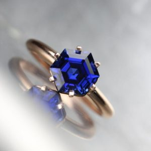 Shop Sapphire Rings! Hexagon Cut Lab Created Sapphire Engagement Ring 14k Rose White Yellow Gold Intense Blue Conflict Free Gemstone 6 Prong Bridal – Cobalt Cage | Natural genuine Sapphire rings, simple unique alternative gemstone engagement rings. #rings #jewelry #bridal #wedding #jewelryaccessories #engagementrings #weddingideas #affiliate #ad