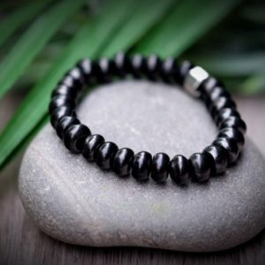 Shop Shungite Bracelets! Custom Sizing Shungite Emf 5g Protection Genuine 8.5mm Smooth Rondelle Silver Hexagon Beaded Black Healing Protective Mens Unisex Bracelet | Natural genuine Shungite bracelets. Buy handcrafted artisan men's jewelry, gifts for men.  Unique handmade mens fashion accessories. #jewelry #beadedbracelets #beadedjewelry #shopping #gift #handmadejewelry #bracelets #affiliate #ad