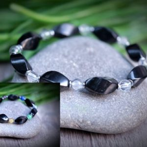 Multi Gemstone Custom SHUNGITE EMF Protection Spiral Bracelet Customizable Choose Gemstone, Color, Chakra Rainbow | Natural genuine Array bracelets. Buy crystal jewelry, handmade handcrafted artisan jewelry for women.  Unique handmade gift ideas. #jewelry #beadedbracelets #beadedjewelry #gift #shopping #handmadejewelry #fashion #style #product #bracelets #affiliate #ad