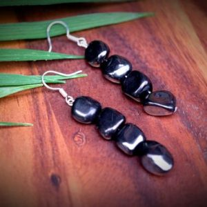 Shop Shungite Earrings! 4 Pebble Shungite Drop Dangle Earrings EMF Protection Chakra Balancing Healing | Natural genuine Shungite earrings. Buy crystal jewelry, handmade handcrafted artisan jewelry for women.  Unique handmade gift ideas. #jewelry #beadedearrings #beadedjewelry #gift #shopping #handmadejewelry #fashion #style #product #earrings #affiliate #ad