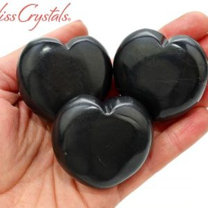 Shop Shungite Stones & Crystals! 1 Shungite Polished Heart + Bag Healing Crystal And Stone For Purification #sh60 | Natural genuine stones & crystals in various shapes & sizes. Buy raw cut, tumbled, or polished gemstones for making jewelry or crystal healing energy vibration raising reiki stones. #crystals #gemstones #crystalhealing #crystalsandgemstones #energyhealing #affiliate #ad