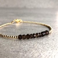 Smoky Quartz Bead Bracelet | Brown Crystal Jewelry | Faceted Gemstone Bracelet | Tiny Silver Or Gold Ball Beads | Natural genuine Gemstone jewelry. Buy crystal jewelry, handmade handcrafted artisan jewelry for women.  Unique handmade gift ideas. #jewelry #beadedjewelry #beadedjewelry #gift #shopping #handmadejewelry #fashion #style #product #jewelry #affiliate #ad
