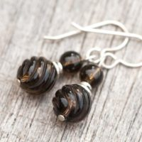 Smoky Quartz Earrings, Natural Stone Earrings, Petite Brown Quartz Gem Stone Earrings, Healing Stone Minimalist Earrings, Root Chakra | Natural genuine Gemstone jewelry. Buy crystal jewelry, handmade handcrafted artisan jewelry for women.  Unique handmade gift ideas. #jewelry #beadedjewelry #beadedjewelry #gift #shopping #handmadejewelry #fashion #style #product #jewelry #affiliate #ad