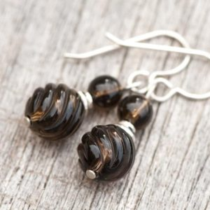 Shop Smoky Quartz Earrings! Smoky Quartz Earrings, Natural Stone Earrings, Petite Brown Quartz Gem Stone Earrings, Healing Stone Minimalist Earrings, Root Chakra | Natural genuine Smoky Quartz earrings. Buy crystal jewelry, handmade handcrafted artisan jewelry for women.  Unique handmade gift ideas. #jewelry #beadedearrings #beadedjewelry #gift #shopping #handmadejewelry #fashion #style #product #earrings #affiliate #ad