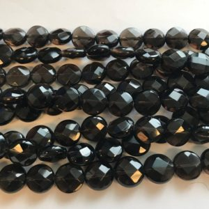 "Shop Smoky Quartz Faceted Beads! Natural  smoky quartz 8x4mm,12x6mm faceted flat coin Gemstone Beads—15.5""–1 strand/3 strands 