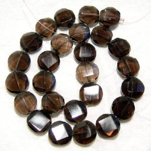 Shop Smoky Quartz Faceted Beads! Smokey Quartz Faceted Coin/Circle Shaped Natural Gemstone Bead-8mm x 5mm-15.5 inch strand-   Natural genuine faceted Smoky Quartz beads for beading and jewelry making.  #jewelry #beads #beadedjewelry #diyjewelry #jewelrymaking #beadstore #beading #affiliate #ad